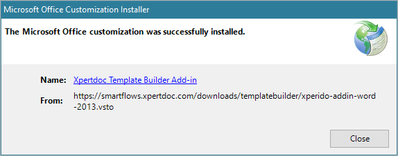 Xpertdoc Template Builder Installation - User manual